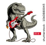 dinosaur playing electric... | Shutterstock .eps vector #1060880045