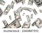 flying 50 american dollar... | Shutterstock . vector #1060887551