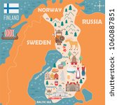 Stylized map of Finland. Travel illustration with danish landmarks, architecture, national flag, and other symbols in flat style. Vector illustration