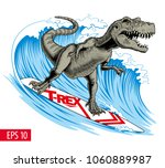 dinosaur surfer ride the wave.... | Shutterstock .eps vector #1060889987