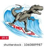dinosaur surfer ride the wave.... | Shutterstock .eps vector #1060889987