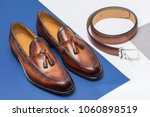 men's brown leather shoes and...   Shutterstock . vector #1060898519