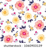 Stock vector colorful flowers pattern and small flowers 1060903139