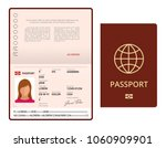 Stock vector vector blank open passport template international passport with sample personal data page 1060909901