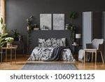 Dark Grey Bedroom Interior Wit...