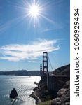 Small photo of Golden gate bridge in high noon, sunny bright day, against the sun, silhouette contours
