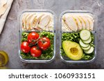 healthy meal prep containers... | Shutterstock . vector #1060933151
