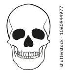 outline vector skull in black  | Shutterstock .eps vector #1060944977