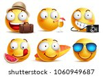 summer smileys vector set with... | Shutterstock .eps vector #1060949687
