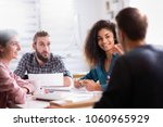 meeting at the startup office.... | Shutterstock . vector #1060965929