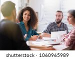 meeting at the startup office.... | Shutterstock . vector #1060965989