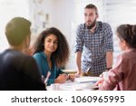 meeting at the startup office.... | Shutterstock . vector #1060965995