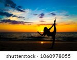 silhouette yoga sign of healthy ... | Shutterstock . vector #1060978055