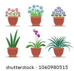 room plants in clay pots for... | Shutterstock .eps vector #1060980515