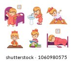 girl and daily routine... | Shutterstock .eps vector #1060980575