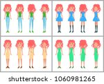 women in dresses and jeans... | Shutterstock .eps vector #1060981265