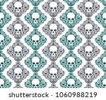 blue and black skull head bones ... | Shutterstock .eps vector #1060988219