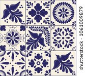 Stock vector mexican traditional talavera style tiles from puebla m xico copy space floral composition with 1061009879
