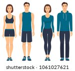 couples in sportswear. young... | Shutterstock .eps vector #1061027621