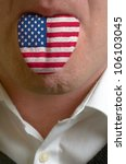 man wit open mouth spreading tongue colored in america flag as symbol of values like teaching, learning, multilingual speaking of different languages - stock photo