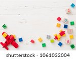 above view on colorful plastic... | Shutterstock . vector #1061032004
