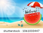 welcome summer lettering on... | Shutterstock .eps vector #1061033447