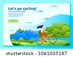 vector bright bicycle ride... | Shutterstock .eps vector #1061035187