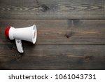 announcement concept. megaphone ... | Shutterstock . vector #1061043731