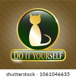 shiny emblem with cat icon and ... | Shutterstock .eps vector #1061046635
