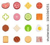 slice food ingredient icons set.... | Shutterstock .eps vector #1061064251
