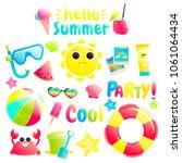hello summer. set of cute... | Shutterstock . vector #1061064434