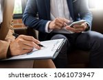 meeting in workplace concept ... | Shutterstock . vector #1061073947