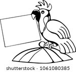 parrot sits on top of the cage...   Shutterstock .eps vector #1061080385