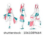 outline of young girls in full... | Shutterstock .eps vector #1061089664