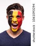 face portrait of happy fan...   Shutterstock . vector #1061093294
