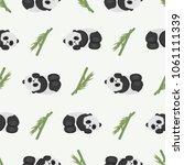cute sleeping pandas and bamboo....   Shutterstock .eps vector #1061111339