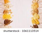beige paper cones with bright... | Shutterstock . vector #1061113514