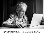 elderly woman works on a laptop. | Shutterstock . vector #1061115149