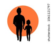 father and son walking together ... | Shutterstock .eps vector #1061121797