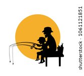 father and son fishing together ...   Shutterstock .eps vector #1061121851