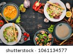 a set of healthy food in plates.... | Shutterstock . vector #1061134577