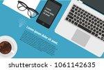 top view flat design creative... | Shutterstock .eps vector #1061142635
