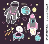 set of hand drawn space objects ... | Shutterstock .eps vector #1061148635