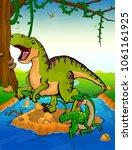 tyrannosaurus on the background ... | Shutterstock .eps vector #1061161925