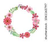 wreath frame pink floral flower | Shutterstock .eps vector #1061163797