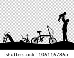 silhouette of father have fun... | Shutterstock .eps vector #1061167865