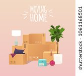 moving home. pile of stacked... | Shutterstock .eps vector #1061168501