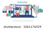 blogging concept for web page ... | Shutterstock .eps vector #1061176529
