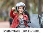 satisfied biker showing... | Shutterstock . vector #1061178881