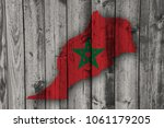 map and flag of morocco on... | Shutterstock . vector #1061179205